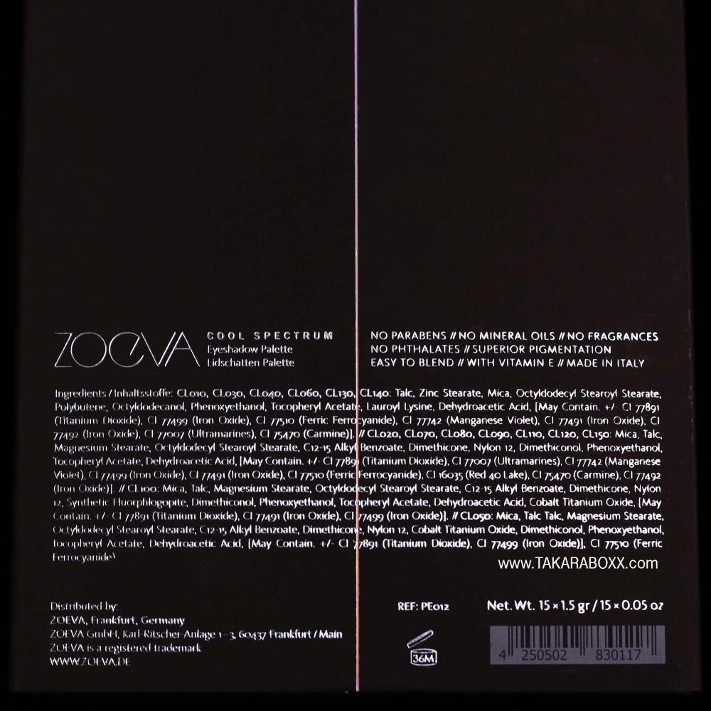 ZOEVA Cool Spectrum Ingredients