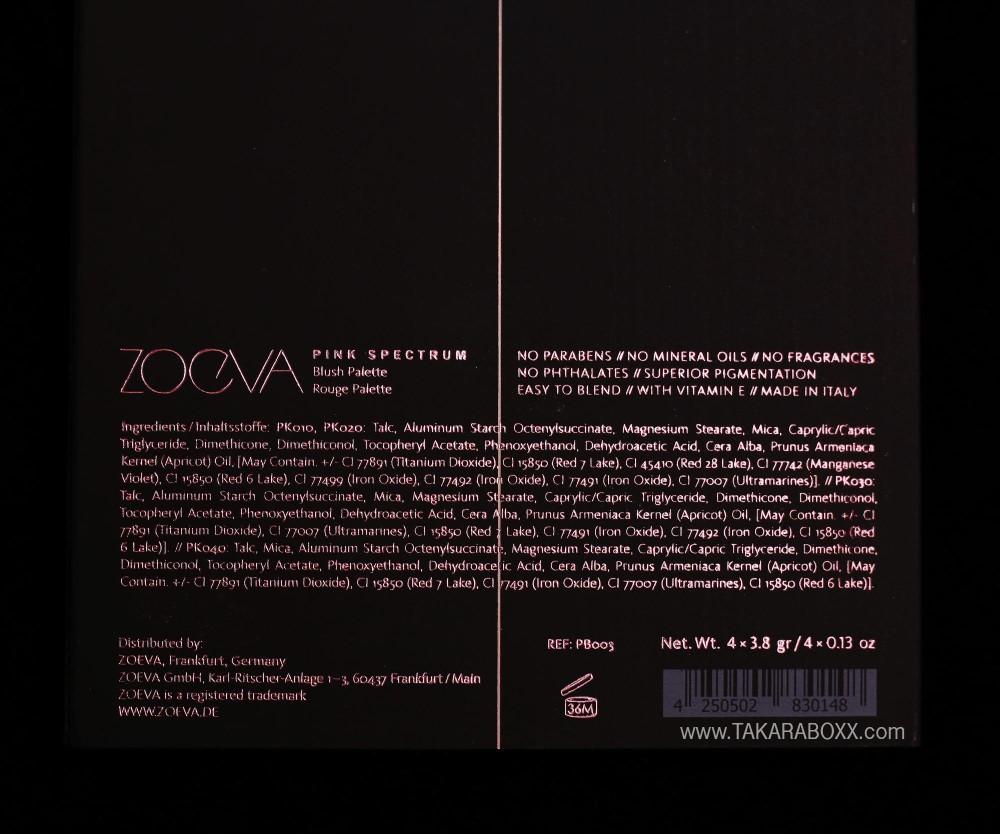 ZOEVA Pink Spectrum Ingredients