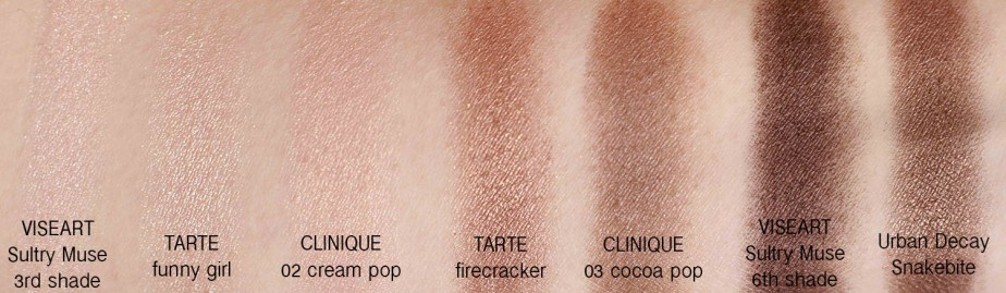 Clinique Cream / Cocoa Lid Pop Swatch Comparisons (Tarte, VISEART, Urban Decay)
