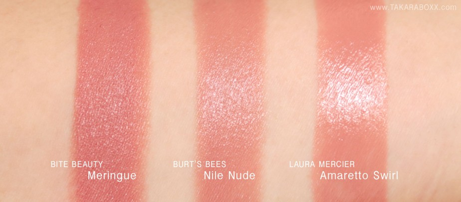 BiteBeauty Meringue Burt's Bees Nile Nude Laura Mercier Amaretto Swirl Swatches