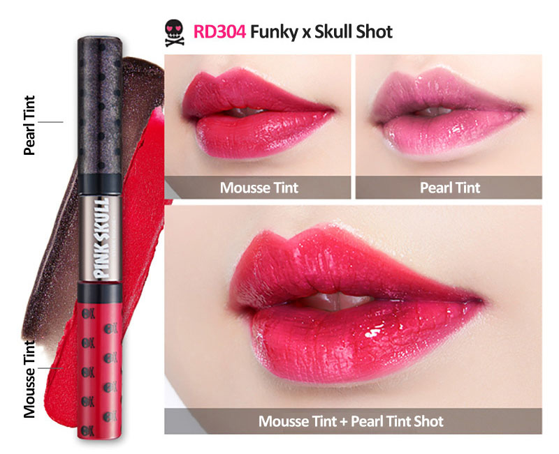 ETUDE HOUSE Pink Skull Collection Twin Shot Liptint Swatches