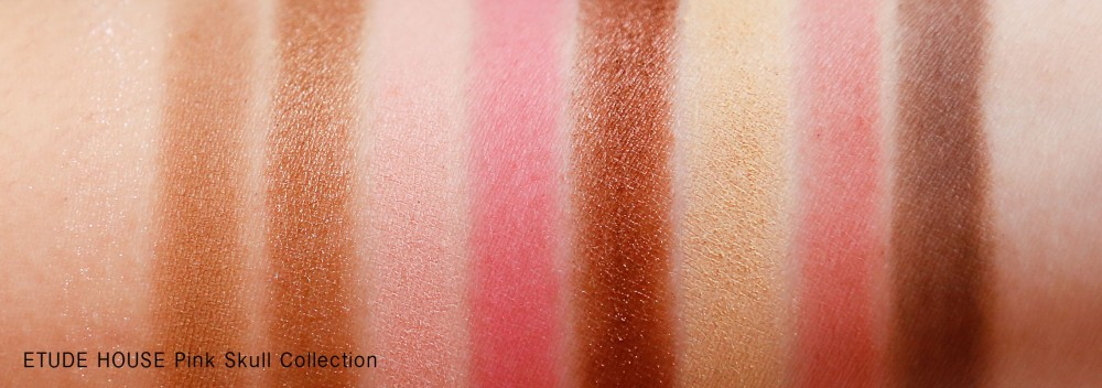ETUDE HOUSE Pink Skull Collection Lovely Skull Eyes Swatches (natural lighting)