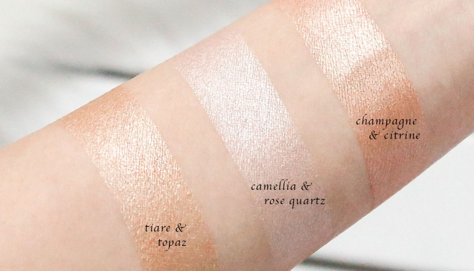 Jouer Cream & Powder Highlighter Layered Swatches